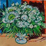 Sylvia Wanner, Original-Ölgemälde-Nr.558, Weiße Blumen in einer Glasvase, Öl auf Leinen, 2013, 60x60 cm.