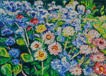 Sylvia Wanner, Original-Ölgemälde-Nr.585, Blumenwiese, Öl auf Leinen, 2014, 70x50 cm.