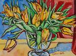 Sylvia Wanner, Original-Aquarellgemälde-Nr.835, Die tulpen, Aquarellkarton, 2013, 48x36 cm.