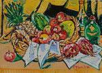 Sylvia Wanner, Original-Ölgemälde-Nr.573, Stillleben mit exotischen Früchten, Öl auf Leinen, 2014, 70x50 cm.