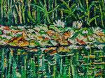 Sylvia Wanner, Original-Ölgemälde-Nr.561, Teich mit Seerosen in Ratingen, Öl auf Leinen, 2013, 80x60 cm.