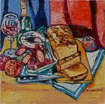 Sylvia Wanner, Original-Ölgemälde-Nr.528, Stillleben mit Wurst, Brot und Wein, Öl auf Leinen, 2012, 60x60 cm.