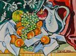 Sylvia Wanner, Original-Aquarellgemälde-Nr.831, Stillleben mit weißer Kanne und Obst, Aquarellkarton, 2013, 48x36 cm.