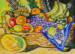 Sylvia Wanner, Original-Aquarellgemälde-Nr.806, Stillleben mit dem Obst in einem Korb, Aquarellkarton, 2012, 48x36 cm.
