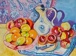 Sylvia Wanner, Original-Aquarellgemälde-Nr.799, Stillleben mit weißer Kanne und Obst, Aquarellkarton, 2008, 48x36 cm.
