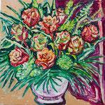 Sylvia Wanner, Original-Ölgemälde-Nr.519, Rosen in einer Vase, Öl auf Leinen, 2012, 60x60 cm.