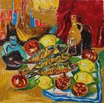 Sylvia Wanner, Original-Ölgemälde-Nr.340, Stillleben mit geräucherten Makrelen und Krügen, Öl auf Leinen, 2006, 60x60 cm.
