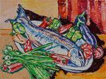 Sylvia Wanner, Original-Ölgemälde-Nr.550, Stillleben mit Lachs, Öl auf Leinen, 2013, 80x60 cm.