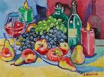 Sylvia Wanner, Original-Aquarellgemälde-Nr.753, Stillleben mit Weintrauben, Flaschen und Kerzen, Aquarellkarton, 2010, 48x36 cm.