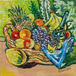 Sylvia Wanner, Original-Ölgemälde-Nr.497, Stillleben mit Obst und Champagne, Öl auf Leinen, 2012, 60x60 cm.