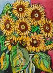 Sylvia Wanner, Original-Aquarellgemälde-Nr.772, Sonnenblumen, Aquarellkarton, 2011, 36x48 cm.