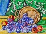 Sylvia Wanner, Original-Aquarellgemälde-Nr.793, Stillleben mit Pflaumen, Aquarellkarton, 2012, 48x36 cm.
