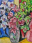 Sylvia Wanner, Original-Aquarellgemälde-Nr.761, Orchideen, Aquarellkarton, 2011, 36x48 cm.