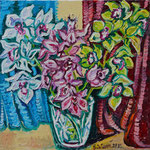 Sylvia Wanner, Original-Ölgemälde-Nr.463, Orchideen in einer Vase, Öl auf Leinen, 2011, 60x60 cm.