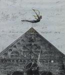Jutta Scheldt, Himmel über Lippstadt, 1996, 28 x 32, Collage und Farbstift auf Papier, 180,- EUR, Nichtmitgl. 300,- EUR