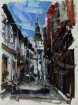 Oliver Jordan, Blues für Lippstadt, 1999, 23 x 32, Öl auf Leinwand, Variation Marienkirche, 600,- EUR, Nichtmitgl. 1000,- EUR