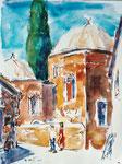 Alte Moschee auf Rhodos, Aquarell auf Karton, 40/30 cm, 2000
