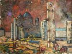 Schlussakt einer zerstörten Legende (Abriss der Aufzugstürme des Palstes der Republik), Öl auf Hartfaserplatte, 45/60 cm, 2009