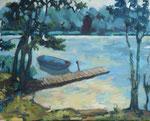 An der Kinderbadestelle der AKK Birkenheide am Motzener See, Öl auf Leinwand, 40/50 cm, 2007