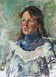 Portraitskizze Karin, Öl auf grundierter Tapete, 55/40 cm, 1989