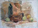 Stillleben mit grüner schlanker Flasche und Äpfeln, Öl auf Leinwand, 46/62 cm, 1979