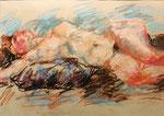 Liegender Akt, rechter Arm nach hinten gelegt, Pastell auf Ingrespapier, 40/59 cm, 1995
