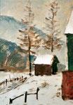 Winter in Thüringen, Ölskizze auf grundierter Pappe, 30/24 cm, ca. 1985