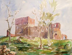 Ruine der Festung Hammerhus auf Bornholm, Aquarell auf Karton, 26/35 cm