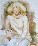 Portrait Sandra, Öllasur auf HFP, 61/51 cm, 1979