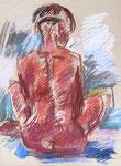Rückenakt, sitzende Sandy, Pastell auf Packpapier, 57/42 cm, 1995