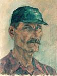 Selbstportrait mit grüner Mütze, Öl auf Leinwand, 40/30 cm, 2001