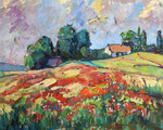 Landschaft mit Mohnblumen, Öl auf Karton, 43/58 cm, 2007