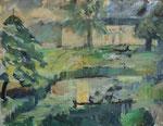 Weiler im Park von Schloss Hardenberg, Öl auf Karton, 43/55 cm, 1998