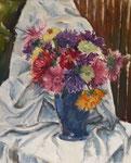 Blumenstillleben mit Astern in blauer Vase, Öl auf Leinwand, 50/40 cm, 2007