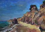 Steilküste bei Wustrow mit abgestürztem Betonbunker, Acryl auf Karton, 44/61 cm, 2007