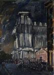 """Verhüllter (""""Wrapped"""") Reichstag von Nord, Öl auf Karton, 49/35, 1995"""