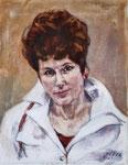 Portrait Edith mit weißem Mantel, Öl auf Leinwand, 45/35 cm, 2002