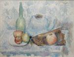Stillleben mit blauem Teekessel, grüner Flasche und Früchten, Aquarell auf Karton, 36/48 cm, 1977