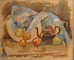 Stillleben mit brauner Teekanne, blauem Blechkännchen vor blauem Tuch, Öl auf Leinwand, 41/51 cm, 1981