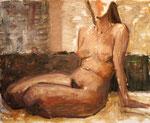 Sitzender weiblicher Akt mit angezogenen Unterschenkeln, nach hinten aufgestützt, Öl auf nicht grundiertem Papier, 46/55 cm, 1984