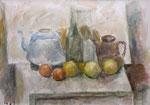Stillleben mit blauem Teekessel, Flasche, braunem Milchkrug und Äpfeln, Aquarell auf Karton, 42/60 cm, 1978