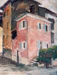 Alte Häuser in Casteletta di Brenzone, Gardasee, Öl auf HFP, 50/40 cm, 1993