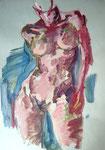 Weiblicher stehender Akt, Acryl auf Karton, 50/40 cm, 2005
