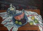 Großes Stillleben mit Weinkrug, blauer Keramikschüssel und Früchten auf bulgarischem Tischtuch als Hommage a´ Cèzanne, Öl auf Leinwand, 61/82 cm, 1981