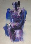 Stehender weiblicher Akt in Kontrapoststellung, Acryl auf Karton, 61/43 cm, 2003