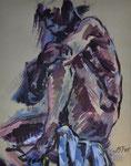 Männlicher Akt mit angezogenem Knie, Acryl auf Karton, 50/40 cm, 2005