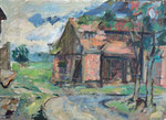 Desolate Scheune in Altwriezen, Oderland, Öl auf grundiertem Karton, 42/59 cm, 1998