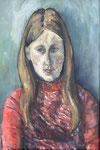 Portrait Mandy, Tempera auf Leinwand, 60/40 cm