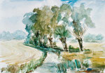 Märkische Landschaft bei Altwriezen, Aquarell auf Karton, 28/35 cm, 2003