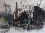 Ruine des Bahnhofsgebäudes von Eberswalde aus der Frühzeit des Eisenbahnbaus mit gusseisernen Gitterträgern, Pastell auf Canson-Karton, 45/62 cm, 1993